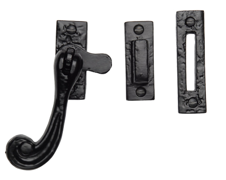 M Marcus Tudor Collection Bulb End Casement Window Fastener (118mm), Rustic Black Iron - TC675
